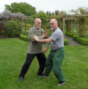 Ian Deavin pushes hands with his teacher Karel Koskuba