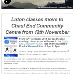 Luton classes move to Chaul End Community Centre - October 2014 newsletter