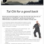 October 2014 newsletter - Tai Chi for a good back