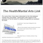 The Health/Martial Arts Link - 4th November 2014 newsletter
