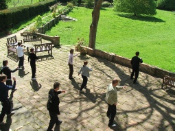 Practicing Tai Chi at Braziers Park in Oxfordshire