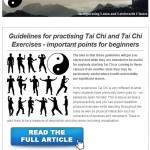 Guidelines for practising Tai Chi Chi and Tai Chi Exercises, 25th March 2015 Newsletter