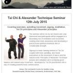 Tai Chi and Alexander Technique Seminar at the Letchworth Centre for Healthy Living, 12th July 2015