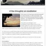 A few thoughts on meditation, 7th July 2015 Newslette