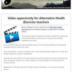 Video Opportunity for Alternative Health Exercise Teachers, 28th October 2015 Newsletter