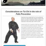 Considerations on Tai Chi in the role of Falls Prevention, 24th November 2015 Newsletter