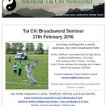 Tai Chi Broadsword Seminar in February, 19th January 2016 Newsletter
