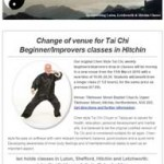Change of venue for Tai Chi Beginners/Improvers classes in Hitchin. 22nd February 2016 Newsletter