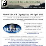 World Tai Chi Day 2016 Seminar, 29th March 2016 Newsletter