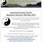 Letchworth Centre Tai Chi Beginners Seminar, 12th April 2016 Newsletter