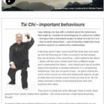 Tai Chi - important behaviours, 9th August 2016 Newsletter