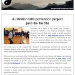 Australian falls prevention project just like Tai Chi - 11th January 2018 Newsletter