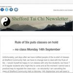 Rule of Six puts classes on hold - no class Monday 14th September - September 2020 Newsletter from Shefford Tai Chi