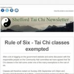 Rule of Six - Tai Chi classes exempt - classes restart on Sunday 20th September at 6.30pm and Monday 21st September at 1.00pm