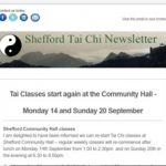 Tai Chi classes start again at the Community Hall - Monday 14th and Sunday 20th September