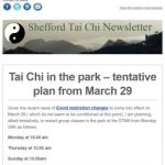 Tai Chi in the park - tentative plan from March 29